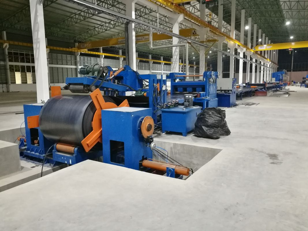 Standard cut to length line , hot rolled mild steel light pole machine for 6m 8m 14m